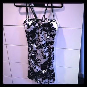 Black and white floral satin dress